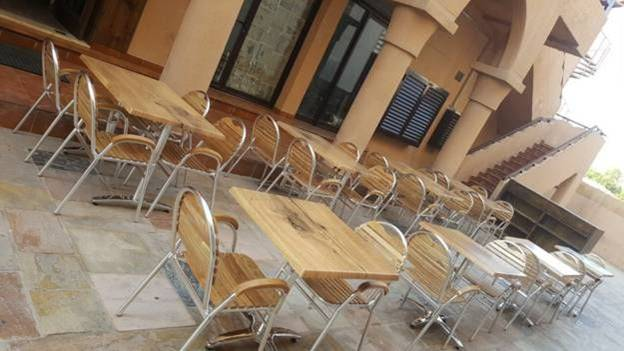 Wooden outdoor restaurant chairs and Tables in UAE