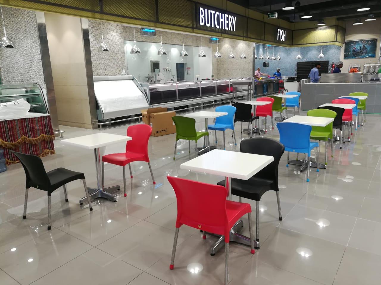 food court furniture in supermarket