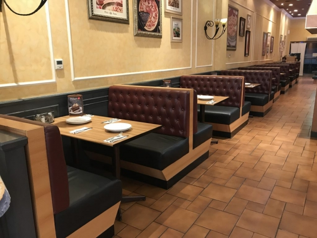 chesterfield Booth seating made for The Pizza Company in UAE