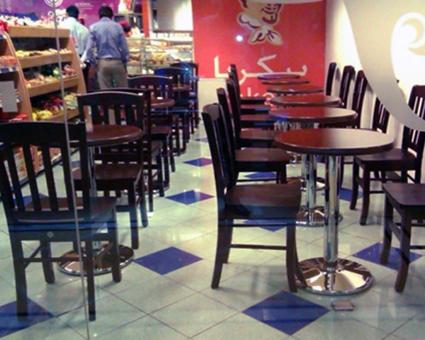 Wooden staff panty chairs and wooden tables