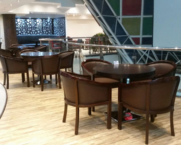 Cafe furniture - wooden tables and chairs