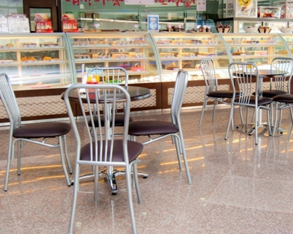 Steel chairs and table bases for coffee shops