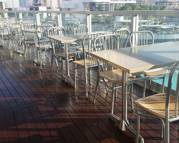 Outdoor restaurant furniture in Dubai Mall