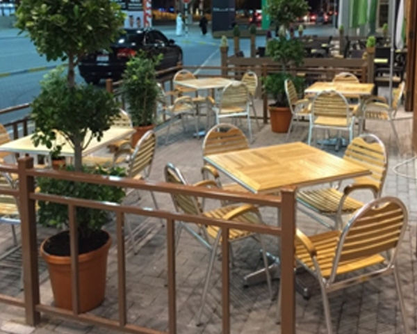 aluminium and wooden outdoor tables and chairs