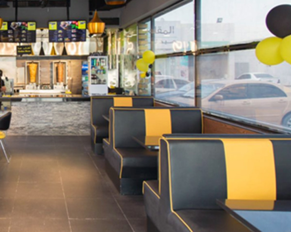 custom made Banquette double booth seats made for restaurant in Ajman